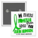 Lyme Disease I Wear Lime Green For My Best Friend 2 Inch Square Button