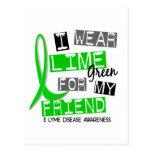 Lyme Disease I Wear Lime Green For My Friend 37 Postcard