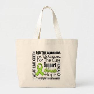 Lyme Disease I Wear Lime Green Ribbon Tribute Large Tote Bag