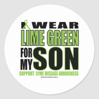 Lyme Disease: Lime Green for Son Classic Round Sticker