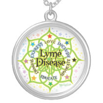 Lyme Disease Lotus Silver Plated Necklace