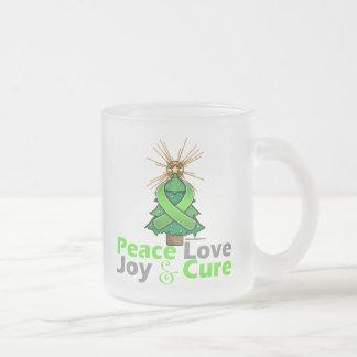 Lyme Disease Peace Love Joy Cure 10 Oz Frosted Glass Coffee Mug