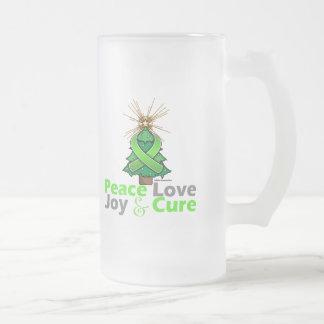 Lyme Disease Peace Love Joy Cure 16 Oz Frosted Glass Beer Mug