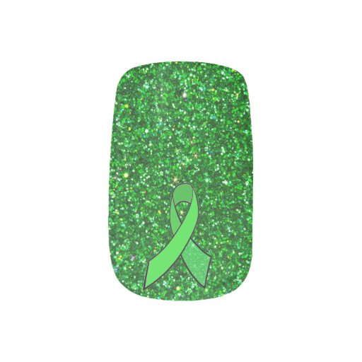 Lyme Disease Ribbon and Faux Glitter Lime Green