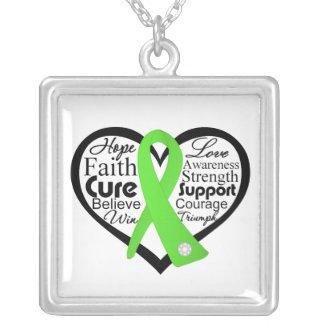 Lyme Disease Ribbon Collage Square Pendant Necklace
