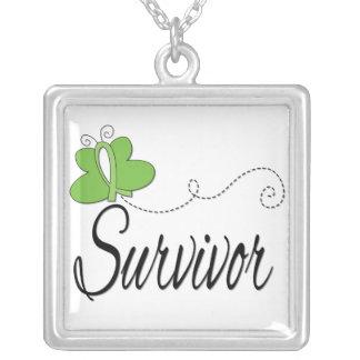 Lyme Disease Survivor Butterfly Ribbon Square Pendant Necklace