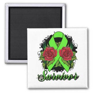 Lyme Disease Survivor Rose Grunge Tattoo 2 Inch Square Magnet
