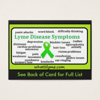 Lyme Disease Symptoms List Informational Card
