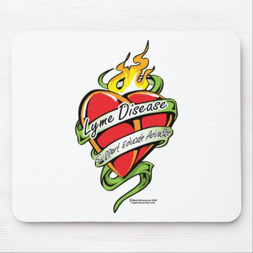 Lyme Disease Tattoo Heart Mouse Pad