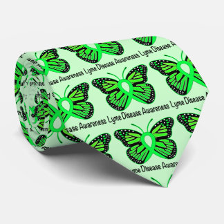Lyme DiseaseAwareness Butterfly Ribbon Neck Tie