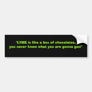 Lyme es como una caja de chocolates etiqueta de parachoque