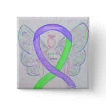 Lyme & Lupus Awareness Angel Ribbon Custom Pins