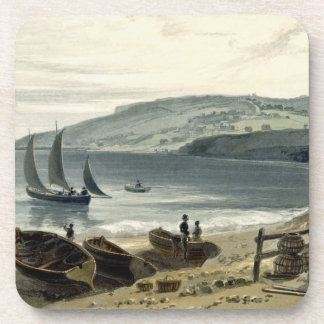 Lyme Regis, from Charmouth, Dorset, from 'A Voyage Beverage Coasters