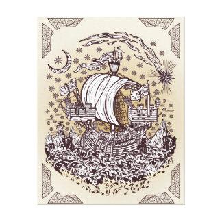 Lymphad on a night sea print canvas print