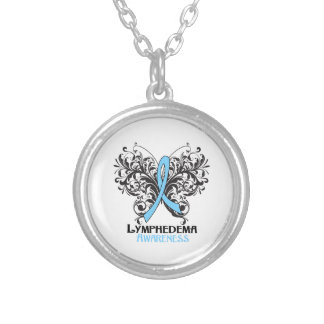 Lymphedema Awareness Butterfly Round Pendant Necklace