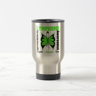 Lymphoma Awareness Butterfly 15 Oz Stainless Steel Travel Mug