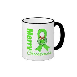 Lymphoma Awareness Merry Christmas Ribbon Mugs