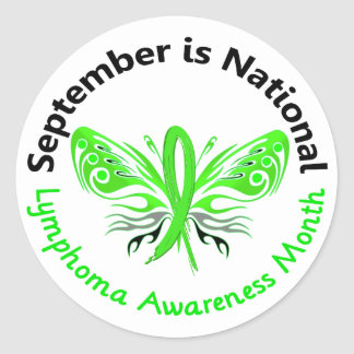 Lymphoma Awareness Month Butterfly 3.3 Classic Round Sticker