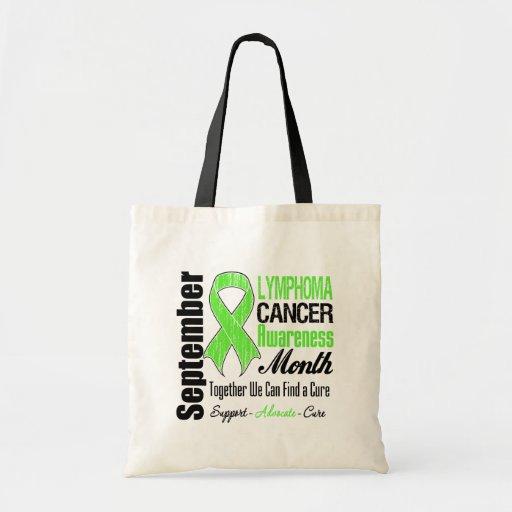 Lymphoma  Awareness Month Distressed Ribbon Canvas Bag