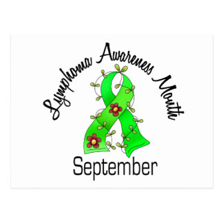 Lymphoma Awareness Month Flower Ribbon 2 September Postcard