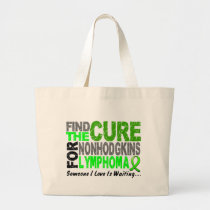 Lymphoma Awareness Non-Hodgkins FIND THE CURE 1 Large Tote Bag
