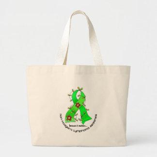 Lymphoma Awareness Non-Hodgkins FLOWER RIBBON 1 Jumbo Tote Bag