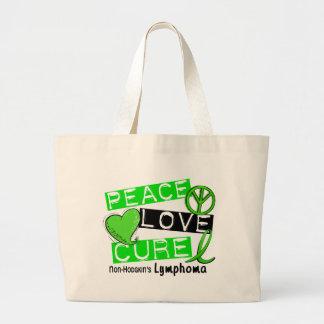 Lymphoma Awareness Non-Hodgkin's PEACE LOVE CURE Jumbo Tote Bag