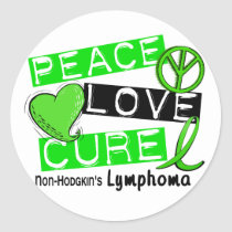 Lymphoma Awareness Non-Hodgkin's PEACE LOVE CURE Classic Round Sticker