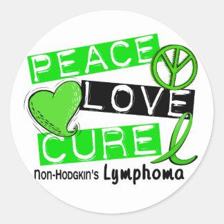 Lymphoma Awareness Non-Hodgkin's PEACE LOVE CURE Classic Round Sticker