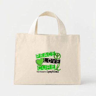 Lymphoma Awareness Non-Hodgkin's PEACE LOVE CURE Mini Tote Bag