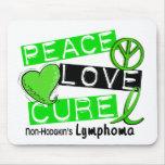 Lymphoma Awareness Non-Hodgkin's PEACE LOVE CURE Mouse Pads