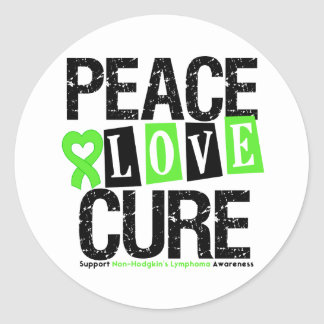 Lymphoma Awareness Peace Love Cure Classic Round Sticker
