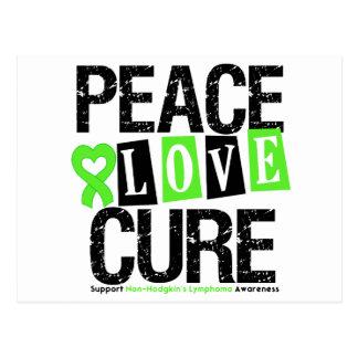 Lymphoma Awareness Peace Love Cure Postcard