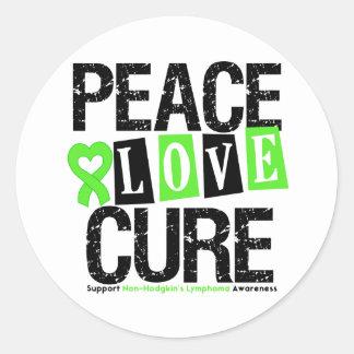Lymphoma Awareness Peace Love Cure Stickers