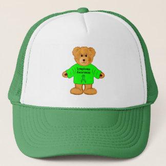 Lymphoma Awareness Teddy with Green Ribbon Trucker Hat