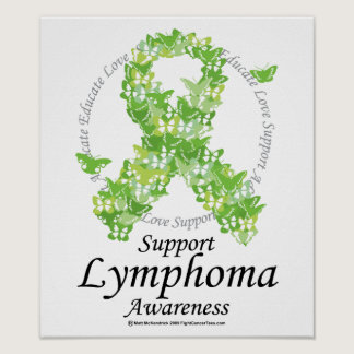 Lymphoma Butterfly Ribbon Poster