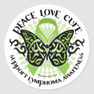 Lymphoma Butterfly Tribal Classic Round Sticker