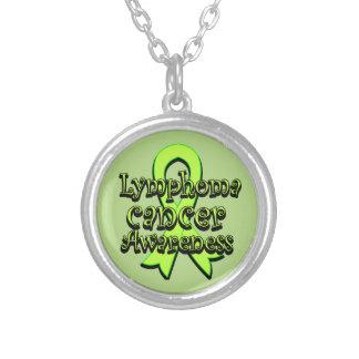 Lymphoma Cancer Awareness Ribbon Round Pendant Necklace