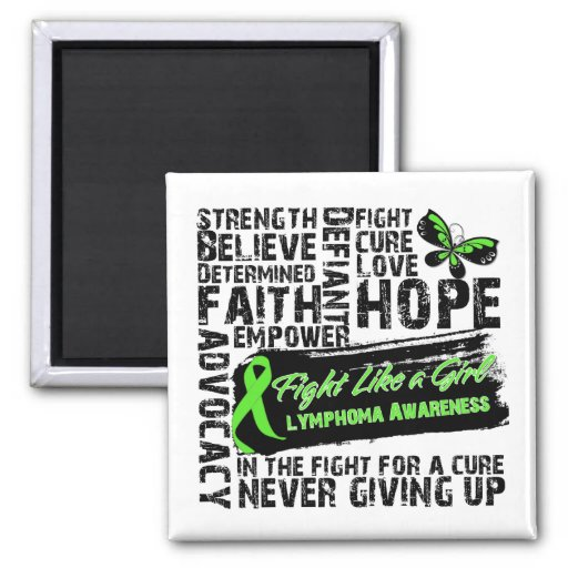 Lymphoma Cancer Collage - Fight Like a Girl Fridge Magnets