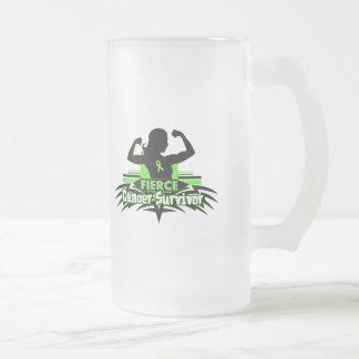 Lymphoma Cancer Fierce Cancer Survivor 16 Oz Frosted Glass Beer Mug