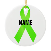 Lymphoma Cancer Memorial Ribbon Ceramic Ornament