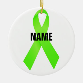 Lymphoma Cancer Memorial Ribbon Ceramic Ornament