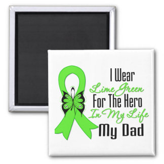 Lymphoma Cancer Ribbon My Hero My Dad 2 Inch Square Magnet