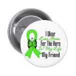 Lymphoma Cancer Ribbon My Hero My Friend Pinback Buttons