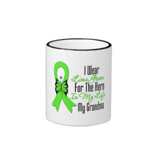 Lymphoma Cancer Ribbon My Hero My Grandma Ringer Coffee Mug