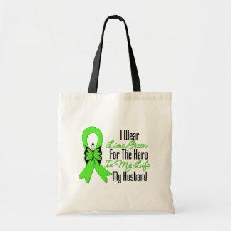 Lymphoma Cancer Ribbon My Hero My Husband Tote Bags