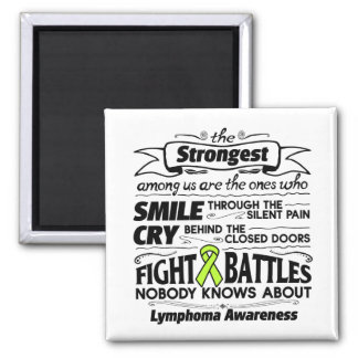 Lymphoma Cancer Strongest Among Us 2 Inch Square Magnet
