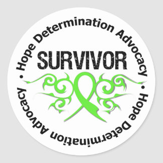 Lymphoma Cancer Survivor Tribal Ribbon Round Stickers