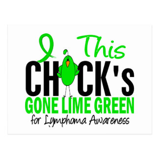 LYMPHOMA Chick Gone Lime Green Postcard