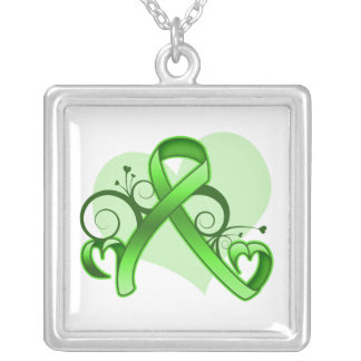 Lymphoma Floral Heart Ribbon Square Pendant Necklace